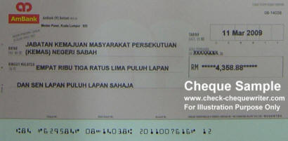 Cheque Sample Malaysia Check Amp Cheque Writer Software