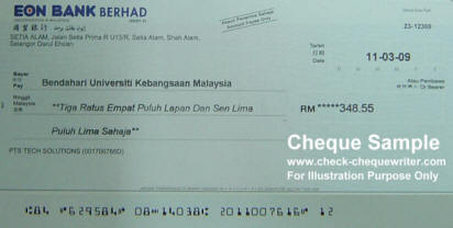 cheque sample malaysia check cheque writer software check and cheque writing printing. Black Bedroom Furniture Sets. Home Design Ideas